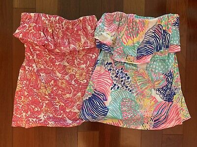 $14.99 • Buy LILLY PULITZER Lot Set Of 2 Strapless Ruffle Top XS Extra Small Shirt