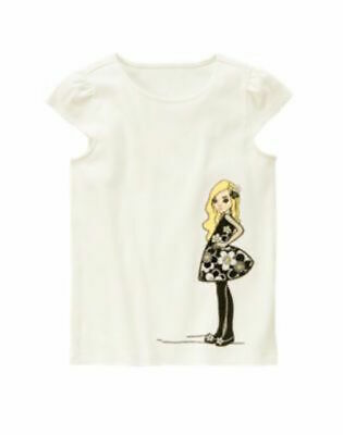 """$14.50 • Buy NWT Gymboree """"BEE CHIC"""" Cotton White Girl Holding Flower Size 7 Shirt TOP"""