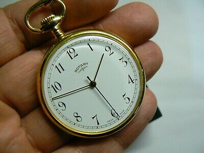$192.52 • Buy Majestic Gold Filled Open Face ROTARY Pocket Watch With Gold Plated Chain & Box