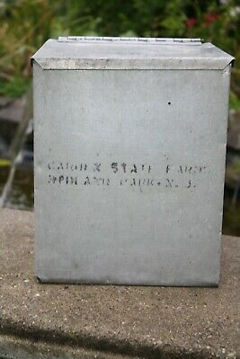 $15 • Buy Vintage Metal Porch Milk Box Garden State Farms New Jersey Made By The Blind