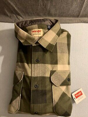 $11.99 • Buy Wrangler Authentics Mens Thick Flannel Shirt Brown/Green Size 2XL NEW