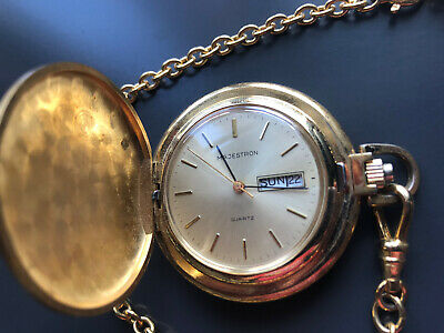 $10 • Buy Vintage Majestron Quartz Pocket Watch Gold With Day And Date