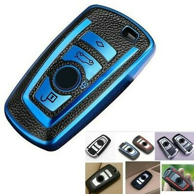 £7.04 • Buy Protect Shell Key Fob Case Cover For BMW 2 3 4 Button Car TPU Leather Blue Black