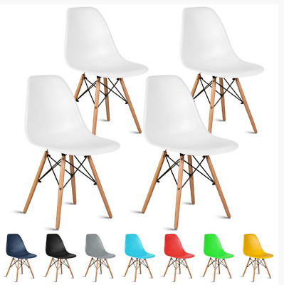£35.99 • Buy Set Of 2 4 Dining Chairs Retro Wooden Legs Office Kitchen Lounge Chair