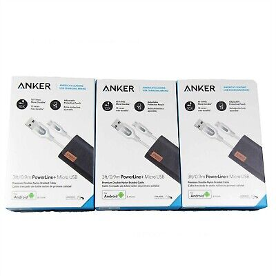 AU39.95 • Buy 3x ANKER POWERLINE+ PREMIUM BRAIDED MICRO USB CABLE CHARGING 0.9M WHITE A8142H21