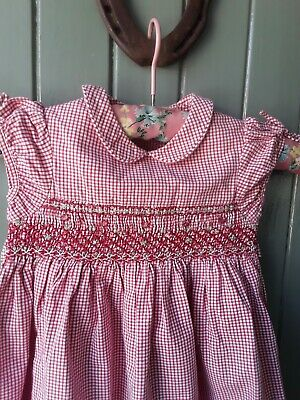 £10 • Buy Jacadi Red & White Gingham Dress Smocked Embroidered Flowers Age 2yrs