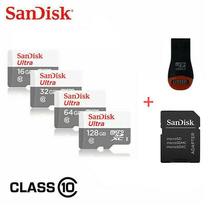 $5.99 • Buy SanDisk Micro SD TF Card 16GB 32GB 64GB 128GB Class 10 Android With USB Adapter