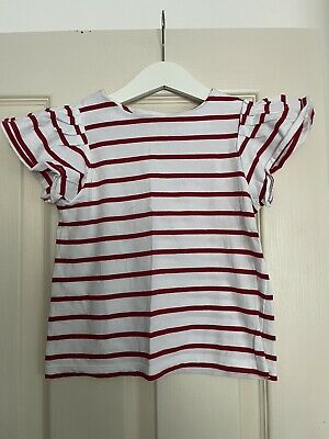 £7.50 • Buy Jacadi Girls -4 Years , Red / White Striped Frilled Sleeve Summer Top