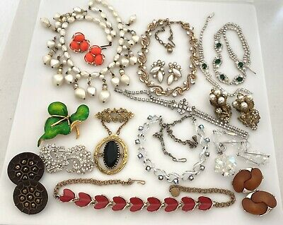$ CDN19.51 • Buy Vintage Jewelry Lot For Resell Mixed Metal, Rhinestone, Plastic Necklace Earring