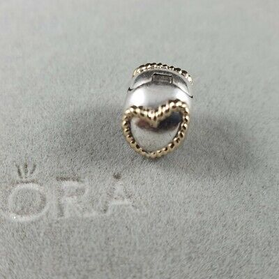 AU60 • Buy Authentic Retired Pandora Braided Heart Clip Two Tone Silver 14kt Gold - #790599