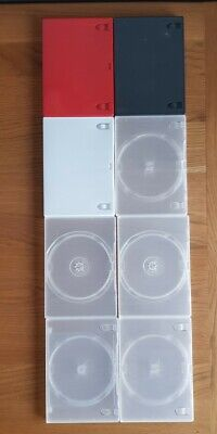 £2.90 • Buy 8 X Empty DVD Cases:  7 X Various Colored Single Cases & 1 X Clear Double Case