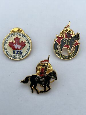 £12 • Buy Trio Of RCMP Royal Canadian Mounted Police Badges / Tie Pins. New