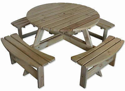 £279.99 • Buy Outdoor 8 Seater Round Bench For Pub/Garden Natural Pine Furniture By Maribelle