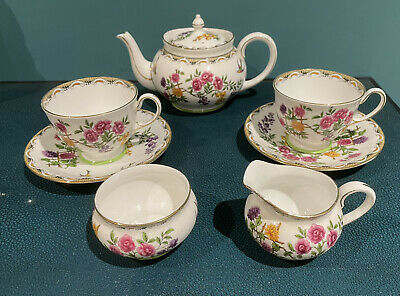 £35 • Buy Aynsley Bone China Two Person Tea Set, Floral And Bird Pattern