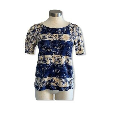 $ CDN24.88 • Buy Anthropologie Postage Stamp Womens Top Striped Floral Textured Blue Ivory Sz. S