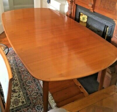 AU900 • Buy Superb MID CENTURY DANISH STYLE Extendable DINING TABLE With 8 Matching CHAIRS