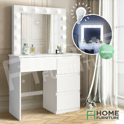AU239.50 • Buy Modern Dressing Table 4 Drawers Makeup Jewellery Cabinet With Light Bulbs White