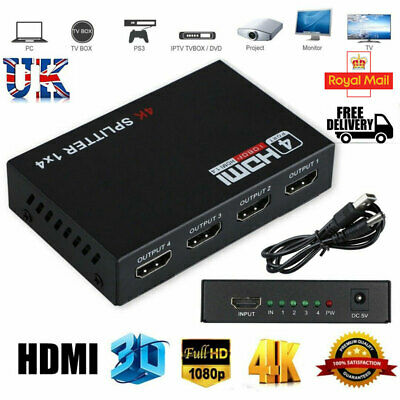 £7.85 • Buy 4K Full HD 4 Way Amplifier For PS3 TV Box HDMI Splitter 1 Input 4 Output 1080P