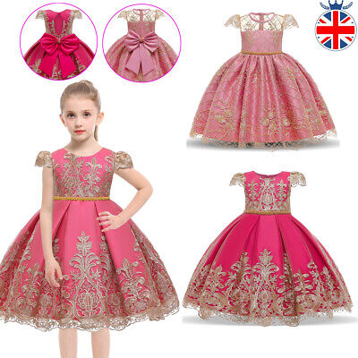 £17.99 • Buy Kids Girls Princess Dress Wedding Party Flower Embroidery Lace Prom Dresses Gift
