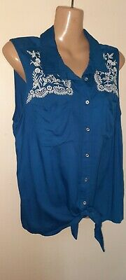 £1.99 • Buy Ladies Blue Mix Embroidery Detail Sleeveless Tie/button Front Top By TU Size 12