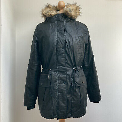 £60 • Buy WHISTLES Parka Coat Size Small Black Faux Fur Trim Hood Pockets Lined