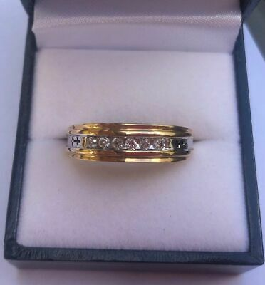 AU325.50 • Buy Gents / Ladies 10k Yellow Gold Ring Set With 6 Diamonds Size V