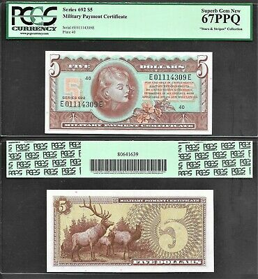 $899.99 • Buy *stunning* $5 Series 692 Military Payment Certificate Pcgs Superb/gem 67ppq