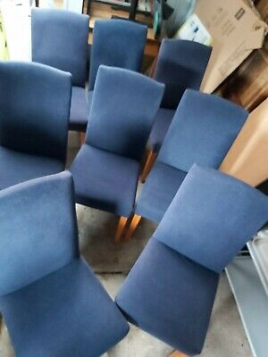 AU99 • Buy 8 X Pre-Loved Dining Chairs Covered In Blue Crushed Velvet