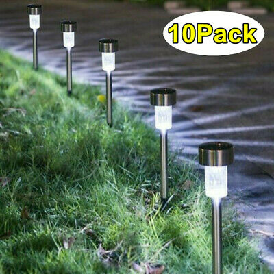 £9.79 • Buy 10x Solar Power LED Stake Lights Patio Outdoor Garden Lawn Path Lamp Cool White