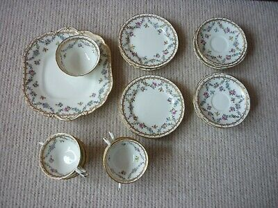 £75 • Buy Aynsley Tea Set 20 Items Trio Pattern Pink Lilac And Yellow Rose Garlands A2153F
