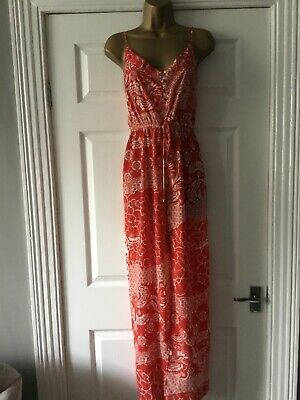 £9.99 • Buy RIVER ISLAND SUMMER MAXI DRESS IN CORAL PATTERN. Sz 8