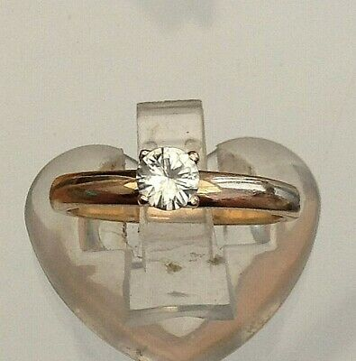 £8.99 • Buy Silver And Gold Gems Tv Solitaire Ring Fantastic  (u)