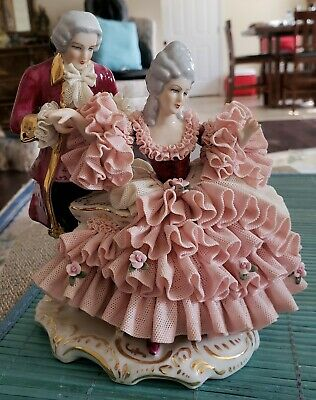 $ CDN314.70 • Buy Spectacular Antique German Dresden Lace Courting Couple Figurine