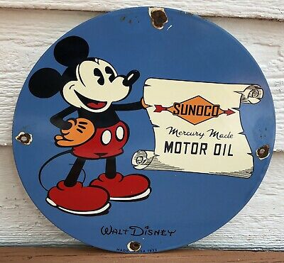 $ CDN32.73 • Buy Vintage 1933 Dated Porcelain Sign Mickey Mouse Disney Gas Oil Sunoco Gasoline