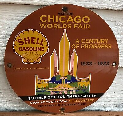 $ CDN51.02 • Buy Vintage 1933 Dated Porcelain Chicago Worlds Fair Shell Gasoline Gas And Oil Sign