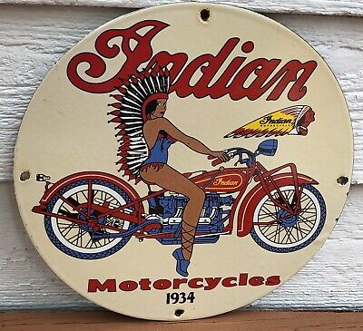 $ CDN64.72 • Buy Vintage 1934 Dated Indian Motorcycles Porcelain Sign Gas Oil Dealership Chief