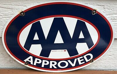 $ CDN38.59 • Buy Vintage 1956 Dated Aaa Approved Porcelain Automobile Club Gas Oil Sign