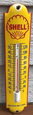 $ CDN107.99 • Buy Vintage Shell Motor Oil Porcelain Thermometer Gas Station Pump Plate - Works!