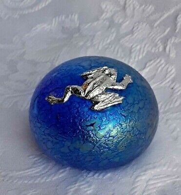 £17 • Buy Heron Glass Small Blue Pebble With  Climbing Frog - Gift Box  - Hand Made In UK
