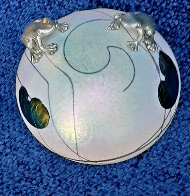 £55 • Buy Heron Glass Lily Pad Paperweight With Two Pewter Frogs With Gift Box - UK Made