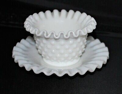 $9.99 • Buy Fenton Milk Glass Hobnail Ruffled Mayonnaise Bowl With Underplate