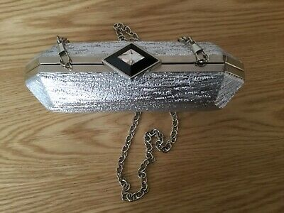 AU9.95 • Buy FOREVER NEW SILVER EVENING CLUTCH BAG With DETACHABLE SILVER CHAIN STRAP