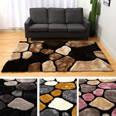 £99.95 • Buy Pebble Stepping Stone 3D Effect Large Rug Area Mat Carpet Living Bedroom Lounge