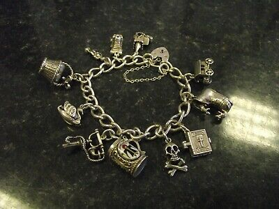 £70 • Buy Vintage Silver Padlock Charm Bracelet With 11 Charms Inc. Nuvo Opening Charms
