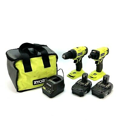 £63.15 • Buy Ryobi P215VN Drill/Driver P235AVN Impact Driver Kit With 2 Batteries, Charger
