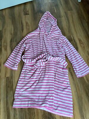 AU16.82 • Buy Joules Tea And Crumpets L/xl Pink Striped Hooded Fluffy Dressing Gown