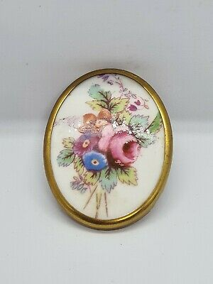 £9 • Buy Gold Tone Royal Worcester Fine Bone China Made In England Flower Brooch