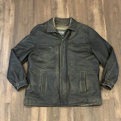 $50 • Buy Wilsons Brown Leather Moto Bomber Jacket Coat Distressed Removable Lining