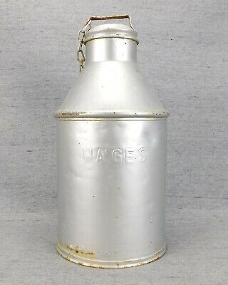 """$21.50 • Buy Vintage HAGES Steel Dairy Milk Can 18"""" Tall Silver, Rust Spots, Clean As Found"""