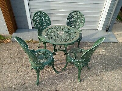 £99.99 • Buy Vintage Cast Aluminium Garden Furniture 1 Table And 4 Chairs Bistro Coffee Set
